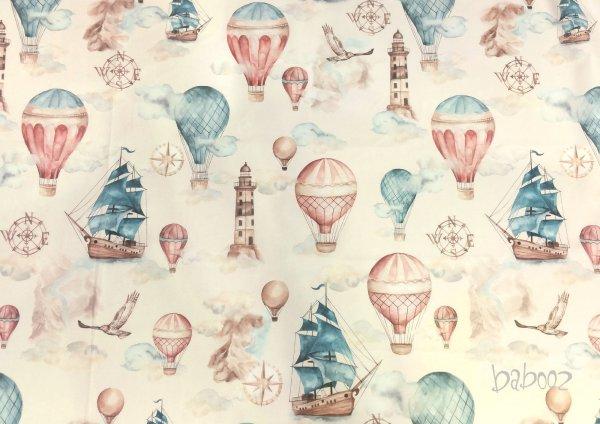 Baumwollstoff Segelschiffe und Heißluftballons auf buttercreme