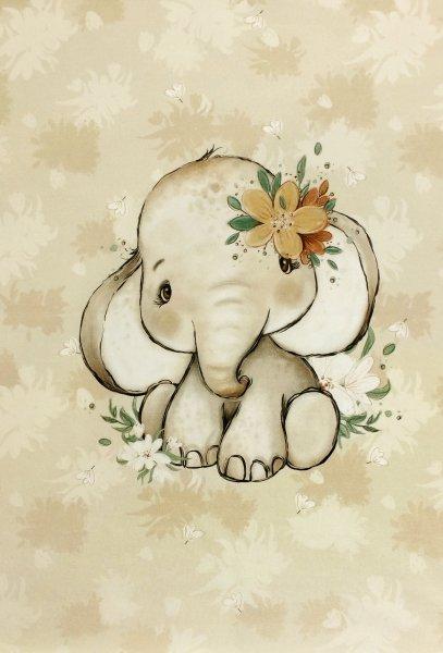 Panel Baby Elefant beige