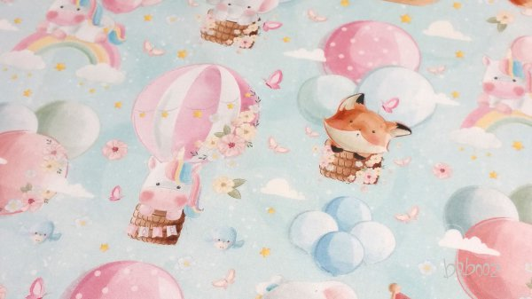 French Terry - Tiere auf Heißluftballons türkis
