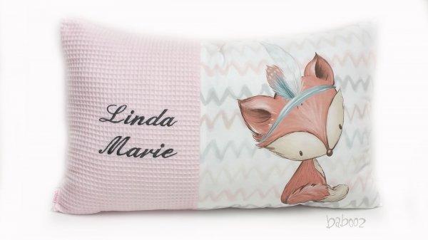 Kissen mit Namen - Waffelpiqué rosa - Fuchs